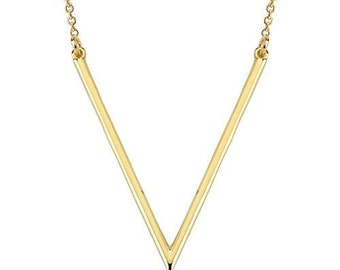 V 14K Solid Gold Necklace  Chevron 14k Solid Gold Necklace Jewellery Fiemma