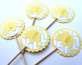 24 Yellow Elephant Girl Boy Baby Shower Chevron Toothpick Cupcake Toppers, Food Picks, Theme Party Picks, Ships in 3-5 Working Days