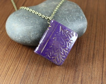Book Pendant necklace ~ Purple