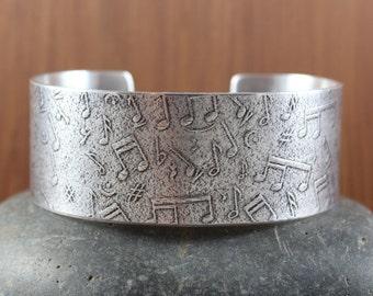 Music Notes Bangle cuff bracelet