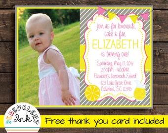 Lemonade Birthday Invitation - Printable Lemonade Theme Party Invite - First Birthday Girl - 1st Birthday Invitation - FREE Thank You Card