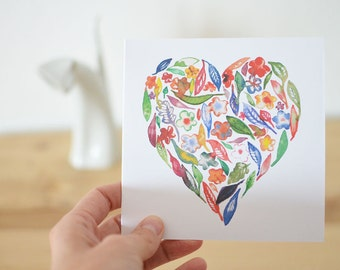 Watercolor Heart Greeting Card