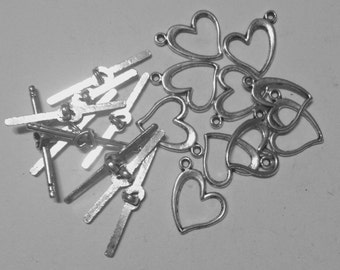 10 heart closing in silver-plated hypoallergenic metal 15 mm.