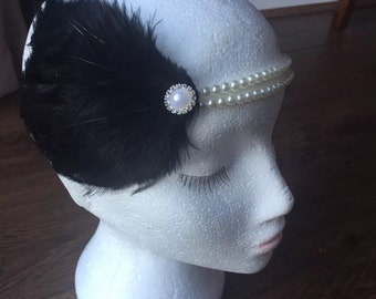 1920s Black Feather and Pearl Flapper Headband gatsby hairband