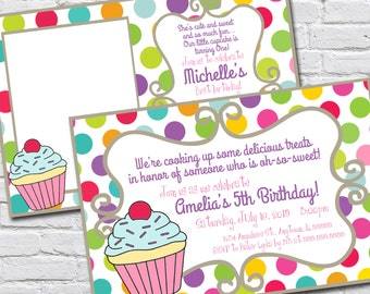 Cupcake Themed First Birthday Invitation - With or Without Photo