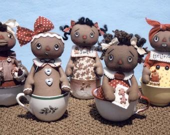 Primitive PATTERN Darling Gingerbread Tea Cup Dollies
