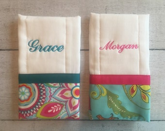 Personalized Baby Burp Cloth Set of 2, Create Your Own