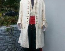 One of a Kind - White Coat- Frock Coat - Pirate, 18th Century, Jack Sparrow, Captain Hook, Captain Morgan, Will Turner, Black Sails, Cosplay
