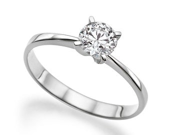 0.50 CT 5.00MM Moissanite Forever One Engagement Ring Colorless VVS