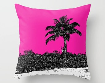 Palm Tree Pink, Pillow Cover, 6 sizes, home decoration,accent pillows,landscape,island living,modern design,nautical,beach decor,dorm decor
