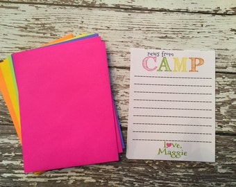Personalized Kids Summer Camp Stationery Note Cards 10 Cards and 10 BRIGHT Matching envelopes
