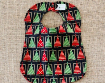 Red and Green Christmas Tree Cloth Baby Bib