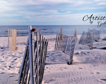 St George Island, Florida, Beach Photography, Landscape, Ocean photography, Coastal Wall Art, Nautical art, retro, clouds, fence, soft blue