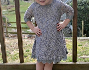 GRAY LACE DRESS for Toddlers, Little Girls, or Big Girls Dress, Flower Girl, Rustic, Vintage
