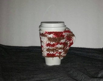 Cotton Cup Cozy with Carry Handle, Fall and Winter Colors, Crochet Star Stich Pattern