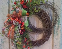 Silk Flower Wreath-Grapevine Wreath-Fall Grapevine Wreath-Front Door Wreath-Porch Decor-Fall Pansies Wreath