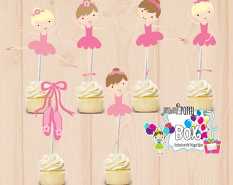 Ballet tutu party cupcake toppers set of 24 - ballerina tutu party - tutu birthday - Ballerina first birthday - Ballet birthday