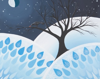 Crow Snow Berries Moonlight, fine art print