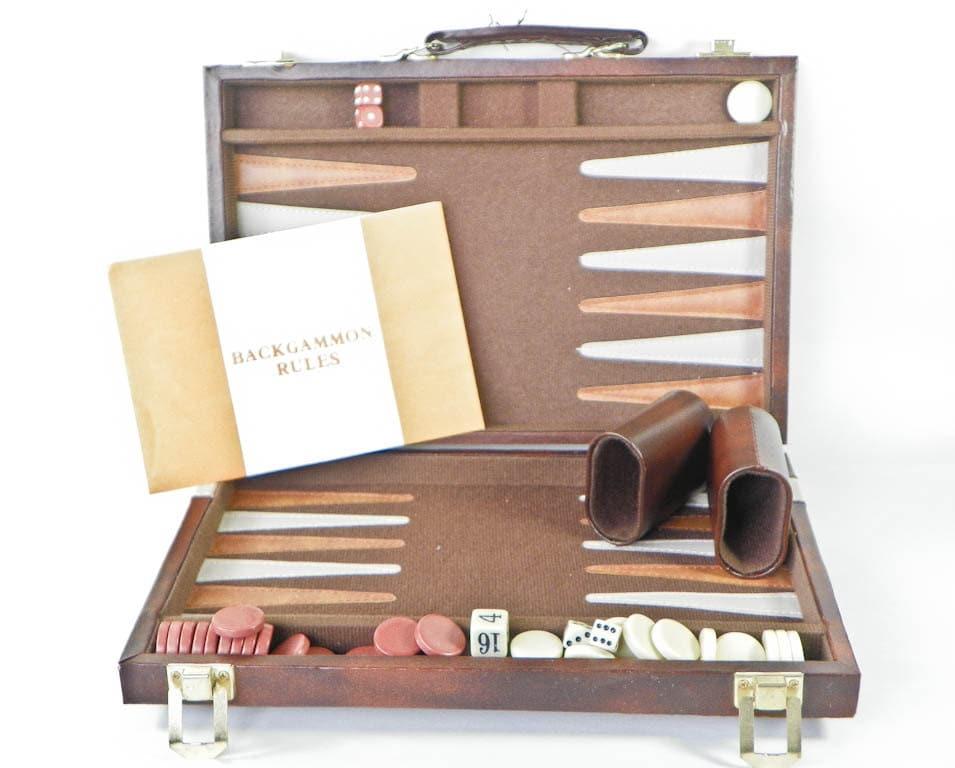 Vintage Backgammon Game Set Faux Leather Case Vinyl