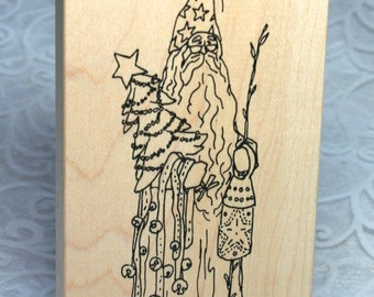 Judith Rubber Stamp Gently USED Christmas Wizard, Holiday Wizard Decoration,  Wizard Claus, Wizard with Christmas Tree, Jingle Bells, Wand
