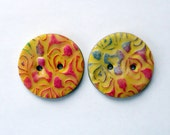 Handmade polymer clay buttons - large yellow buttons - buttons for sewing - buttons for knitting - sewing buttons -  buttons
