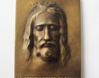 Superb Old Bronze Holy Face Of Jesus Signed