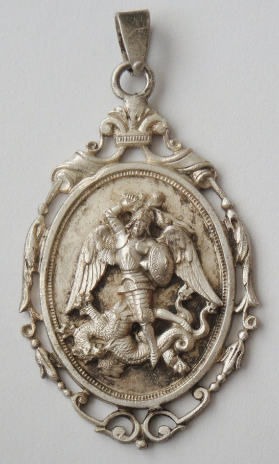 gorgeous vintage medal pendant st michael the archangel