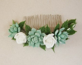 MADE TO ORDER. Bridal succulent hair comb, succulent hair clip, wedding real touch succulent hair clip, Bridesmaids hair comb