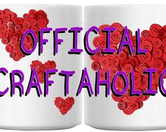 OFFICIAL CRAFTAHOLIC hearts ceramic 11oz mug