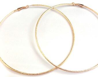 LARGE Hoop Earrings 4 inch Hoop Earrings Gold Foil Hoops Gold tone Earrings