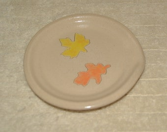Spoon Rest, Plate, Dish, Leaves, White, Yellow, Orange, Maple, Oak, Thanksgiving