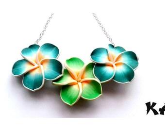 Hawaii Tropical Flower Necklace||Plumeria||Beach||Summer||Lei||Hibiscus||