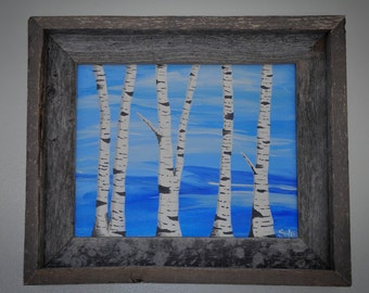 Blue skies and birch trees - 8x10 painting.