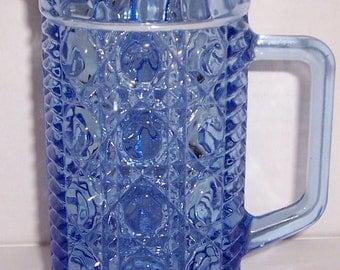 Vintage Designed Pressed Glass Creamer Serene Blue Color Milk Pitcher