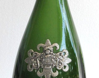 Segura Viudas Brut Reserva Heredad Collectible Pressed Glass Green Color Wine Bottle Spain