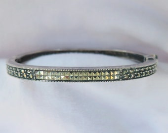 Uncleaned signed Judith Jack Sterling Silver & Marcasite Latch Bracelet