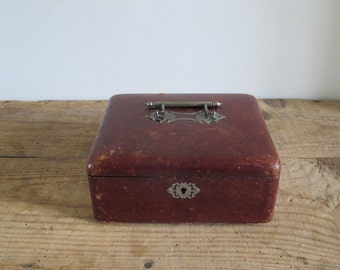 Victorian jewelry wood & leather cover and sovereign silk interior box