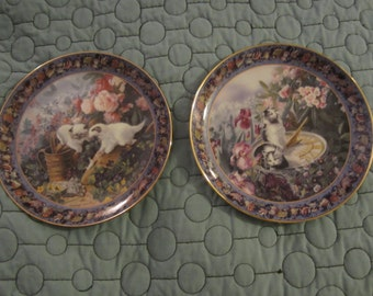 Collector Plates, Cats by Glenna Kurz, Set of 2, Limited Edition, Bradford Exchange, Mailed from Canada