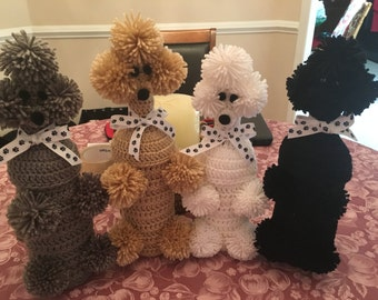 Crocheted Poodle Wine Bottle Covers