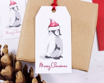 Santa Hat Penguin Christmas Gift Tag / Penguin Gift Wrap / Baby Penguin Gift Tag / Penguin Christmas Gift Tag