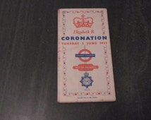 Vintage Coronation HM Queen Elizabeth Commemorative British Railways London Transport Showing Processional Route Transport Coronation Plan