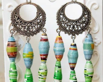 Recycled Magazine Chandelier Earrings-Orange, Teal, Green, White