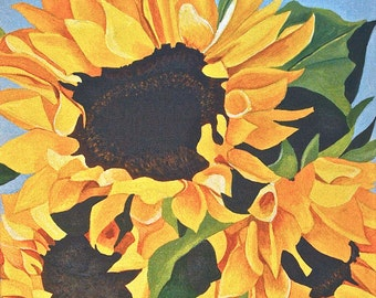 """Original Floral Acrylic  Painting on Canvas  Titled Sunflowers No.3  size 12"""" X 12"""""""