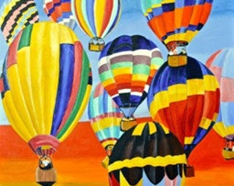 "Original Acrylic Fantasy Hot Air Balloon Painting Titled Balloon Expedition 24"" X 30"""