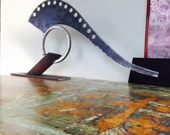 "Jettison"" modern steel sculpture abstract contemporary art. Industrial decor fine art"