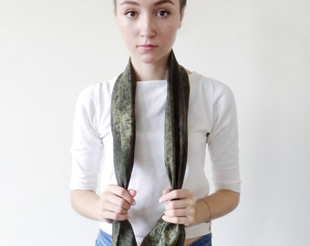 Green Scarf-Black Scarf-Infinity Scarf-Silk-Scarf-Scarves-Scarves for Fall-Scarves for Summer--Scarves for Spring-Holiday Gift-Gift for My