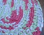 "40""x24"" Pink, Green and White, Hand Crocheted, Oval Rag Rug, Braided Rug, Crochet Rug, Bedroom Rug, Girl's Rug, Nursery Rug, Floor Rug"