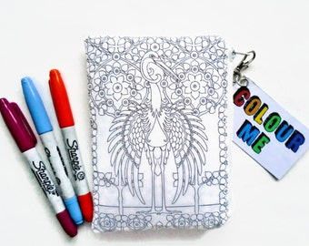 Vintage wallets for women,Colour-In Doodle Wallet