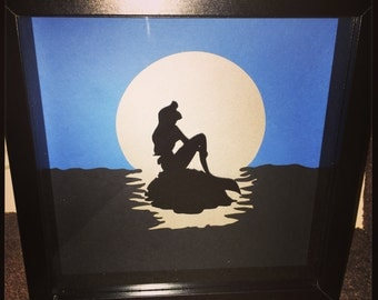 Little Mermaid Inspired Silhouette 3D Handmade Art Frame