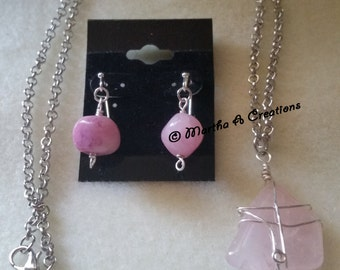 Pink Stone Necklace & Earring Set